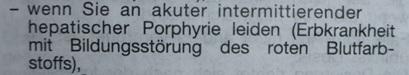Erwähnung der Porphyrie im Beipackzettel für Medikamente